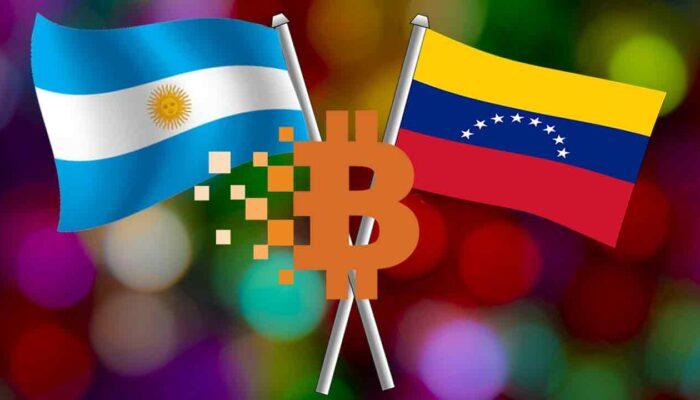 Aregentiina ja Venezuela rahvuslipud ja Bitcoini logo, kirjeldamaks eelmainitud riikide plaani kasutusele võtta krüptoraha