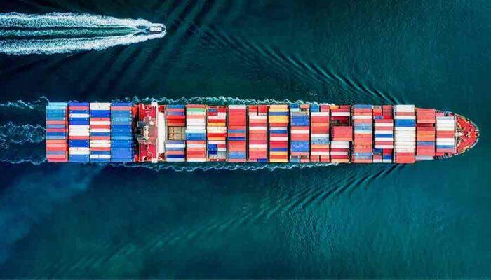 Plokiahela tehnoloogia kasutus logistikatööstuses. Pildil on logistikatööstusele omane konteinerlaev.